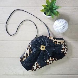 Vintage 80s Leather Leopard Shoulder Bag Purse